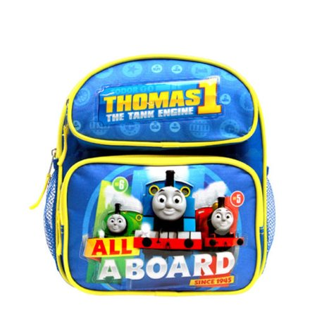 """ALL ABOARD"" Thomas the Train Engine 10"" Mini Toddler Canvas School Backpack"