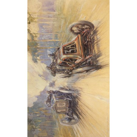 Meteors of Road & Track Renault in French Grand Prix 1906 (From Autocar) Canvas Art - Frederick Gordon Crosby (18 x 24)