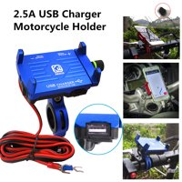 CNC Aluminum Super Solid Stable Motorcycle Handlebar Phone Holder GPS Mount with USB Charger 2.5A Fast Charging with Switch for iPhone for Samsung & Other Cellphone