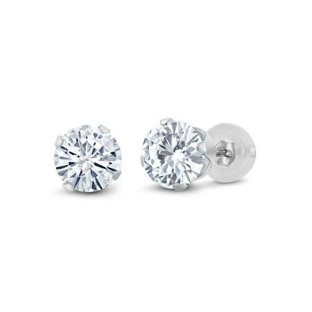 14K White Gold Stud Earrings Set Round Forever Classic Very Light (IJK) 2.00 ct (DEW) Created Moissanite from Charles & Colvard