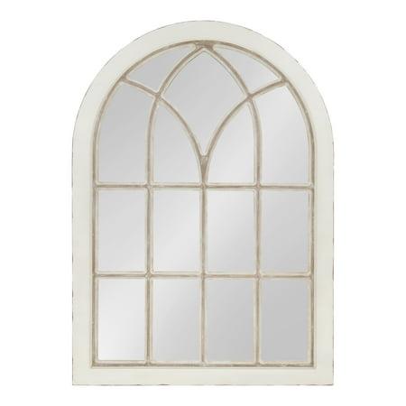 Kate and Laurel NIkoletta Large Classic Wood Windowpane Arch Mirror, 31x44, Distressed Coastal White ()
