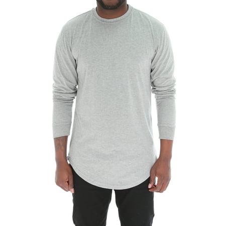 591faeca Bleecker & Mercer - Men's Long Sleeve Longline T Shirt with Side Zippers-H  Grey-S - Walmart.com