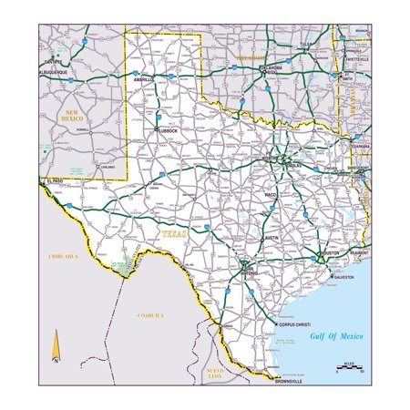 Laminated Map - Large roads and highways map of the state of Texas Poster 24 x 36 ()