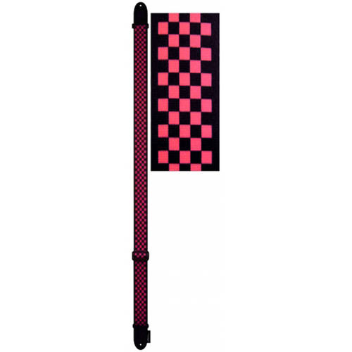"""Perri's Leathers 2"""" Polyester Guitar Strap with Leather Ends, Red And Black Checker"""