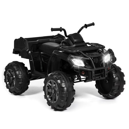 Best Choice Products 12V Kids Powered Large ATV Quad 4-Wheeler Ride-On Car w/ 2 Speeds, Spring Suspension, MP3, Lights, Storage - Black