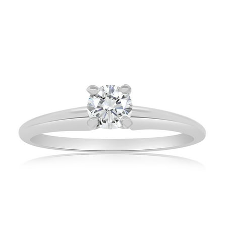 G/SI 1/3ctw Diamond Solitaire Engagement Ring in 14k White Gold