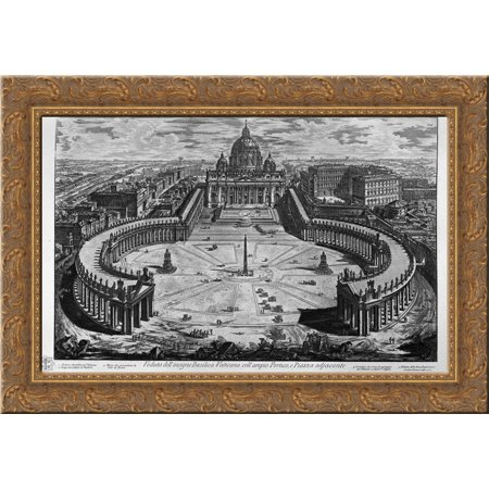 Map of Rome and the Campus Martius with the relevant Index and dedication to Clement XIII in three sheets, and title listed 24x19 Gold Ornate Wood Framed Canvas Art by Piranesi, Giovanni Battista
