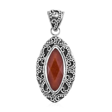 Boho Handmade Pendant 925 Sterling Silver Marquise Dyed Red Jade Gift Jewelry for Women Red Jade Pendant