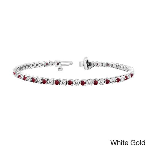 Auriya 14k Gold 1 1 2ct Ruby and 1 1 2ct TW Diamond Tennis Bracelet (H-I, SI1-SI2) by Overstock