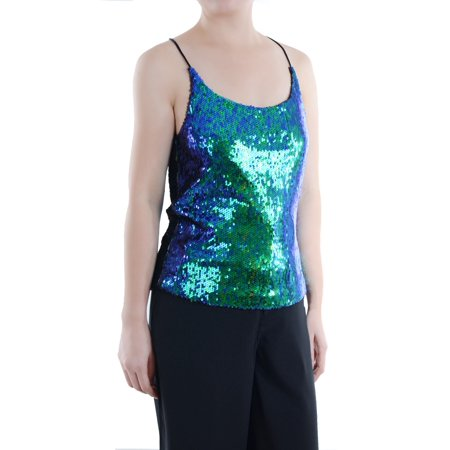 Anna-Kaci Summer Womens Vest Sequin Spaghetti Strap Crop Camisole Tank Top, Matte or Shiny 10 Color
