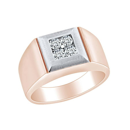 Father's Day Gift 0.54 Carat (Cttw) Round Cut White Natural Diamond Two Tone Men's Statement Band Ring In 14k Solid Rose Gold Ring Size-9 14k Two Tone Diamond Band