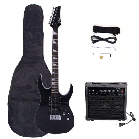 Glarry 170 Type Electric Guitar with Amplifier Guitar Bag Shoulder Strap Power Wire Tools Plectrum Tremolo Arm