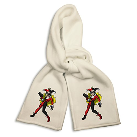 White Winter Scarf - Female Jester Villain Bat Super Hero Parody - Female Villain Names