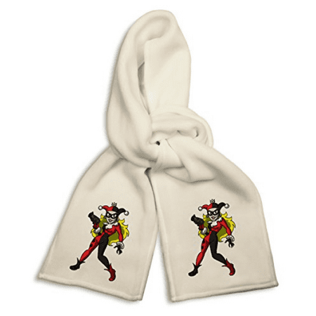 White Winter Scarf - Female Jester Villain Bat Super Hero Parody
