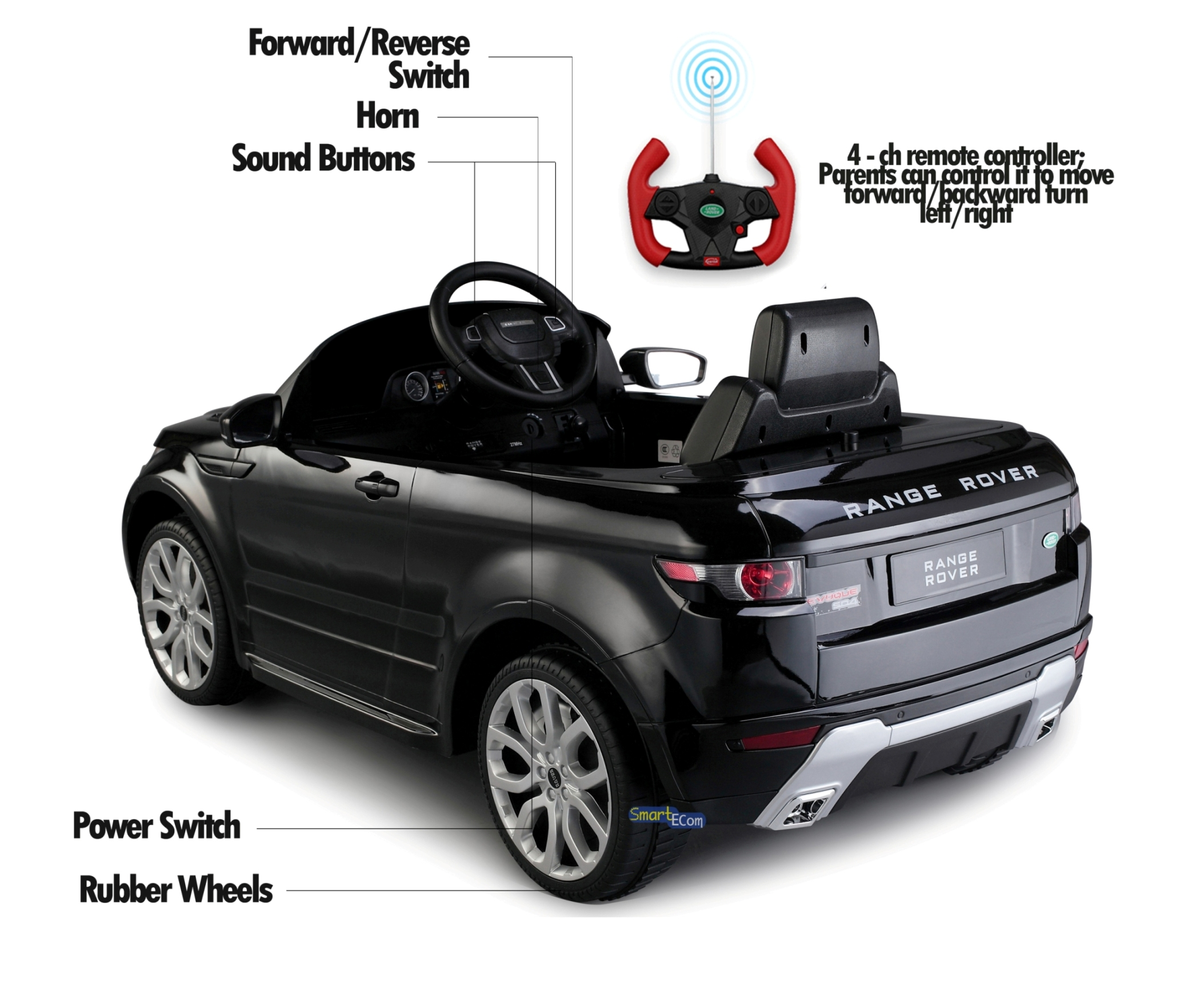 7e79b81d6765 12V Electric power car Range Rover Evoque Ride on toy for kids with Remote  Control LED lights MP3 music and horn - Black - Walmart.com