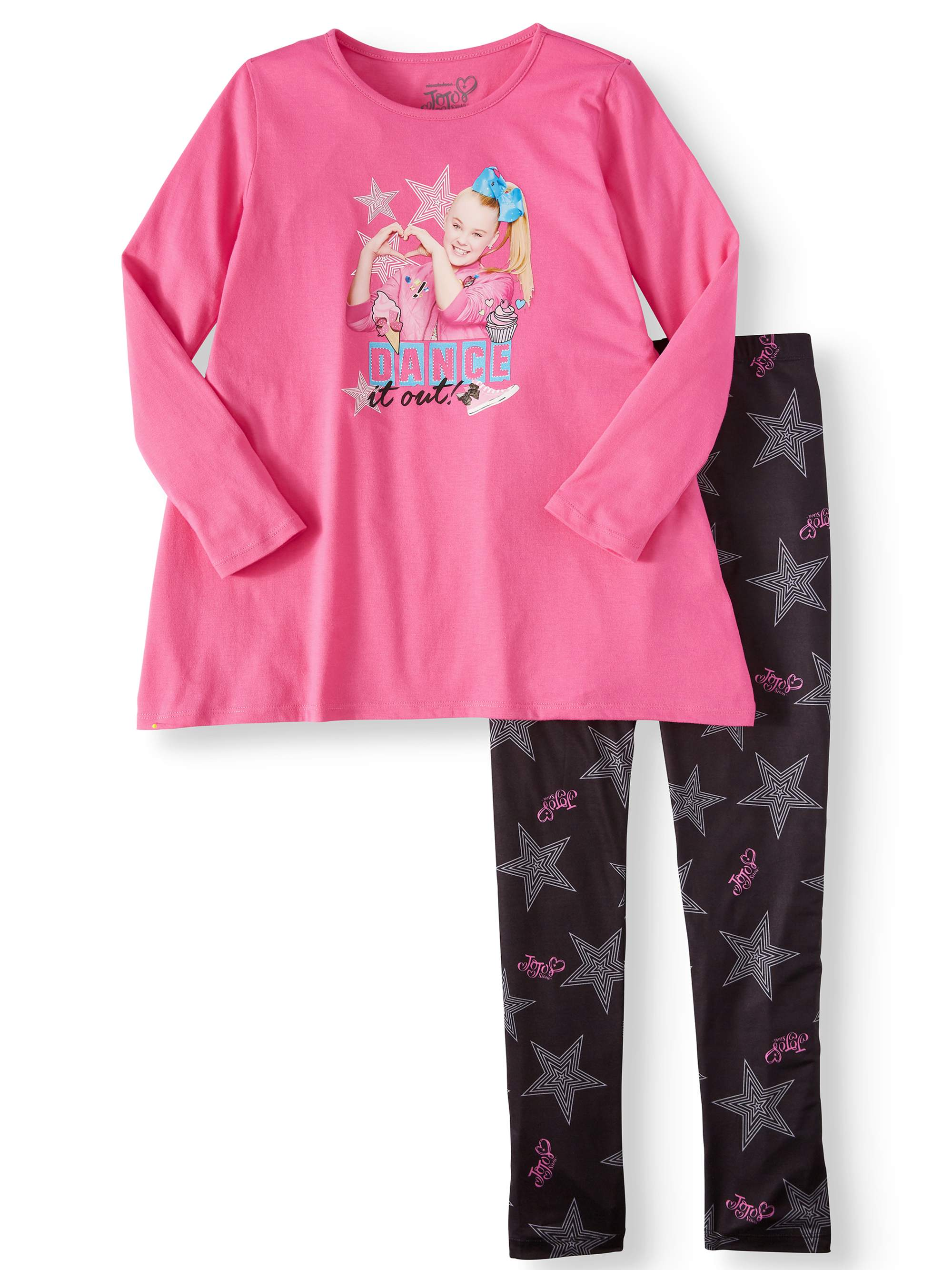 Dream Star Girls 2-Piece Leggings Set Outfit with Necklace