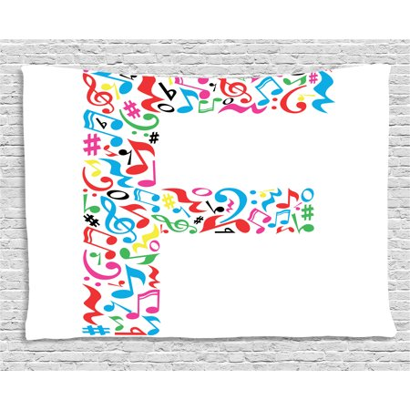 Letter F Tapestry  Letter F Alphabet With Vibrant Music Notes Harmony Song Design Abc Graphic Print  Wall Hanging For Bedroom Living Room Dorm Decor  60W X 40L Inches  Multicolor  By Ambesonne
