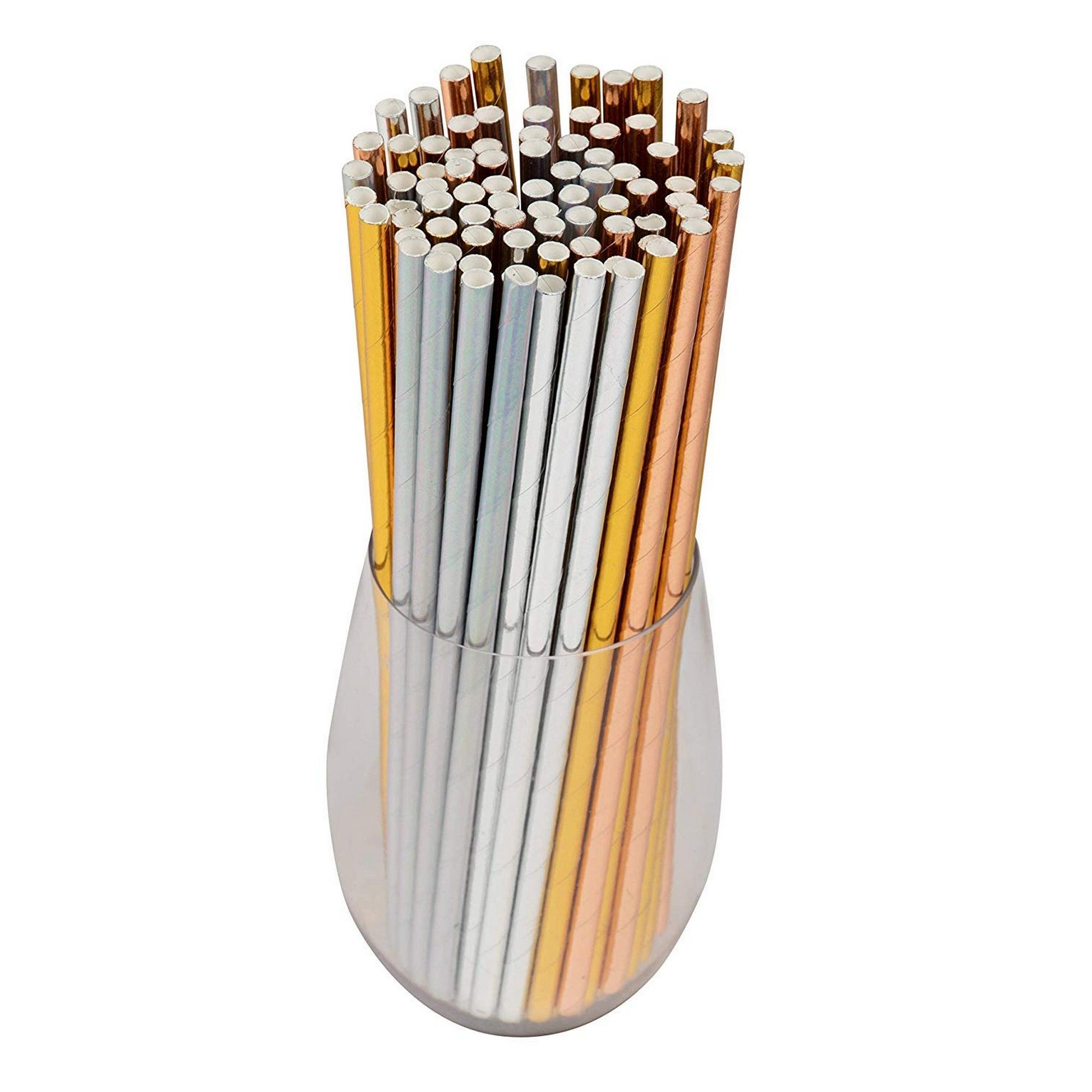 Pack Of 100 Metallic Foil Birthday And Biodegradable Silver Straws Paper Bulk