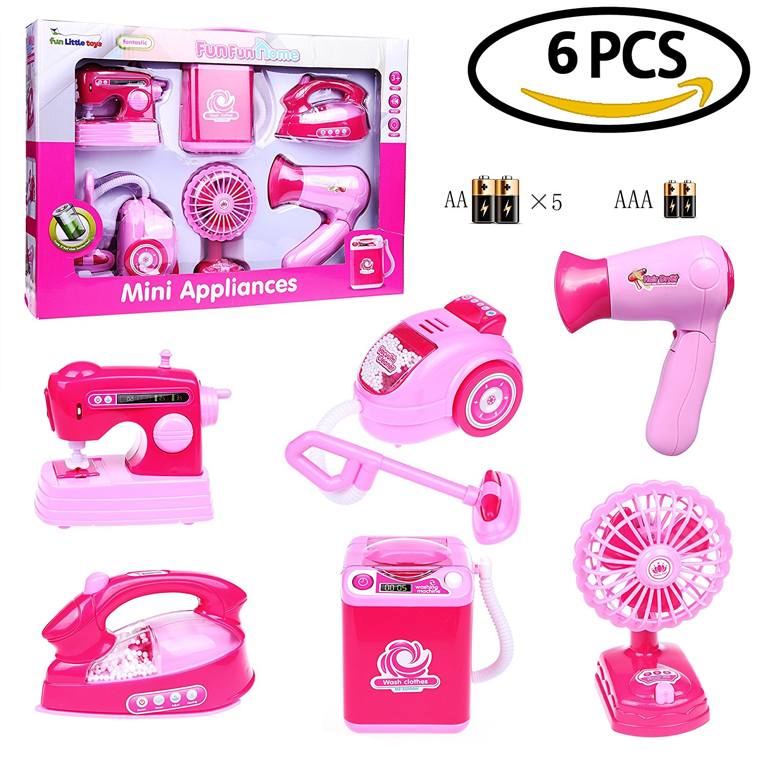 Mini Makeup Toys Pretend Play for Girls Home Appliances Girl Toys for Pink Electronic Dryer Iron Fan Vacuum Sewing Machine Washer Set 6 PCsF-67