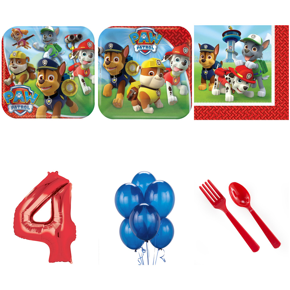 PAW PATROL PARTY SUPPLIES PARTY PACK FOR 32 WITH RED #4 BALLOON