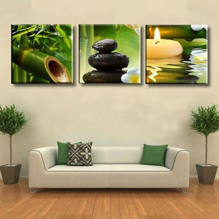 3Pcs Artwork Abstract Landscape Pictures Printed Modern Bamboo Canvas Print Home Office Decorations - Bamboo Decorating Ideas