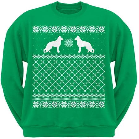 animal world german shepherd green adult ugly christmas sweater crew neck sweatshirt walmartcom