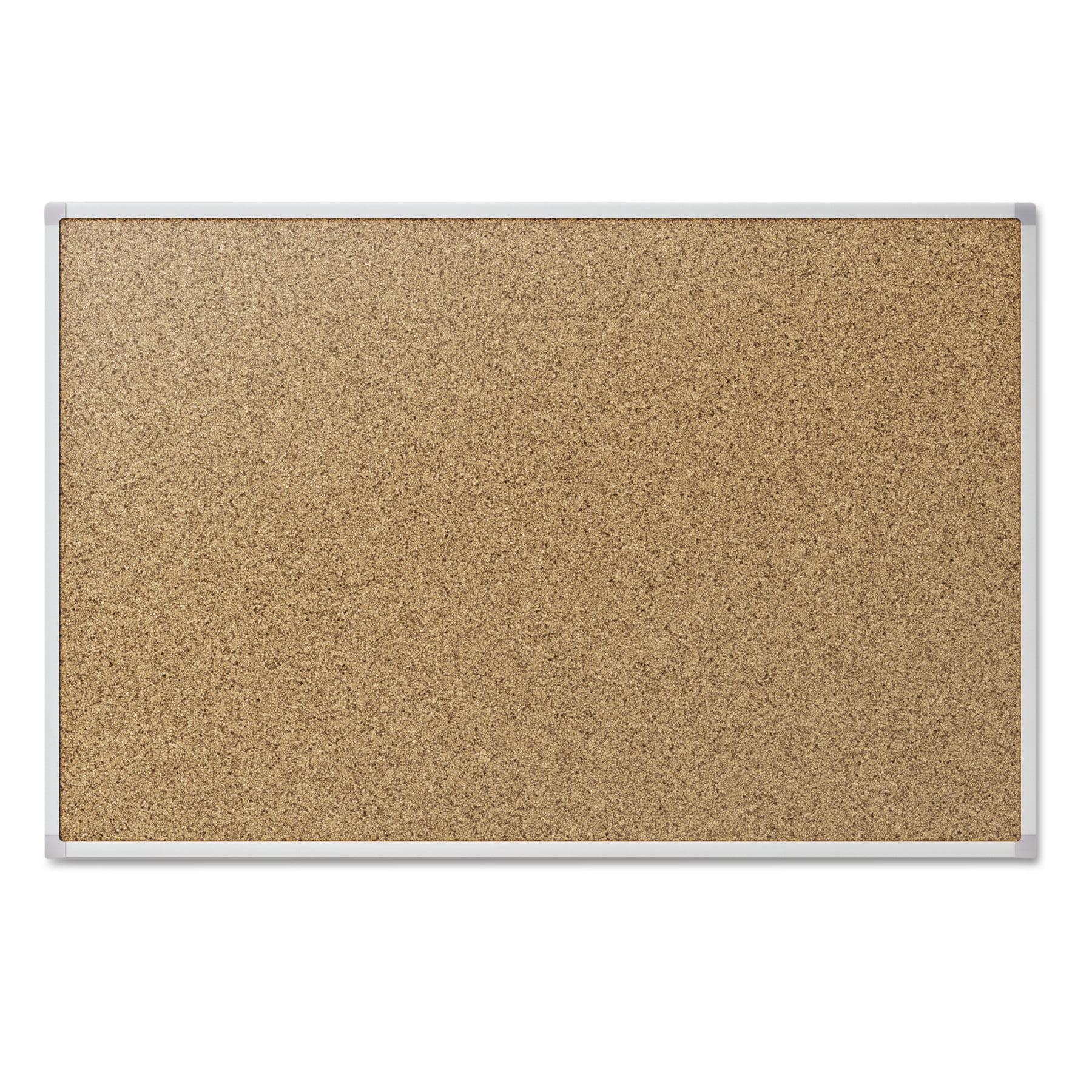 "Mead Cork Bulletin Board, Silver Aluminum Frame, 48"" x 36"