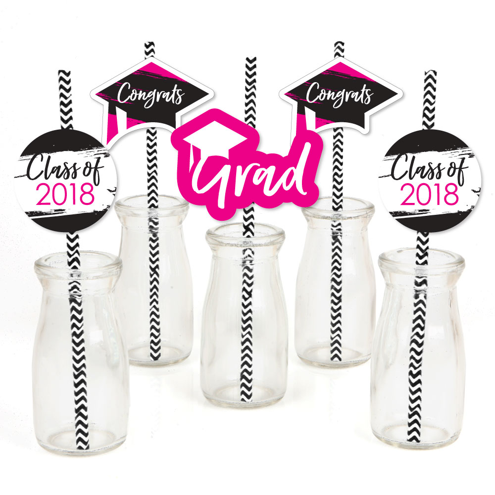 Pink Grad - Best is Yet to Come - Paper Straw Decor - Pink 2018 Graduation Striped Decorative Straws -Set of 24