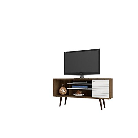 ModHaus Living Modern Transitional Solid 5 Shelf Single Door TV Stand with Flared Legs - Includes Pen (White/Brown - -