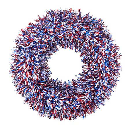 Darice Patriotic Wreath - July 4th Red White Blue Tinsel Wreath