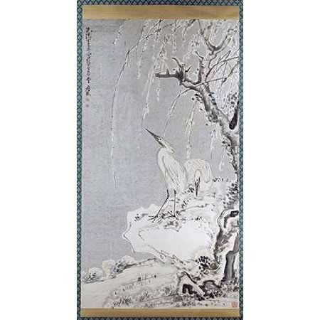 White Egrets On A Bank Of Snow Covered Willows Poster Print By Huang Shen