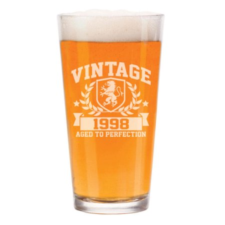 Large Vintage Beer - 16 oz Beer Pint Glass Vintage Aged To Perfection 1998 21st Birthday