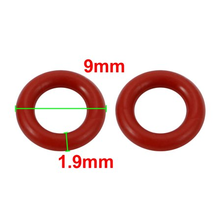 30pcs Red 9mm Outer Dia 1.9mm Thickness Sealing Ring O-shape Rubber Grommet - image 1 of 2