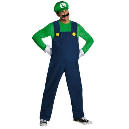 Mens Luigi  Halloween Costume Nintendo Super Mario 2XL (44-46) (Luigi And Mario Costume)