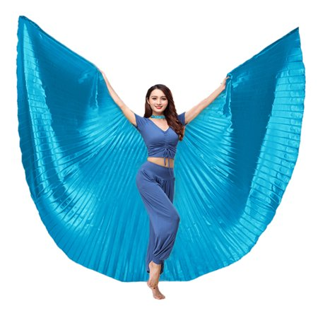Egyptian Costume Accessories (BellyLady Belly Dance Costume Isis Wings With Sticks, Egyptian 360 Degrees)