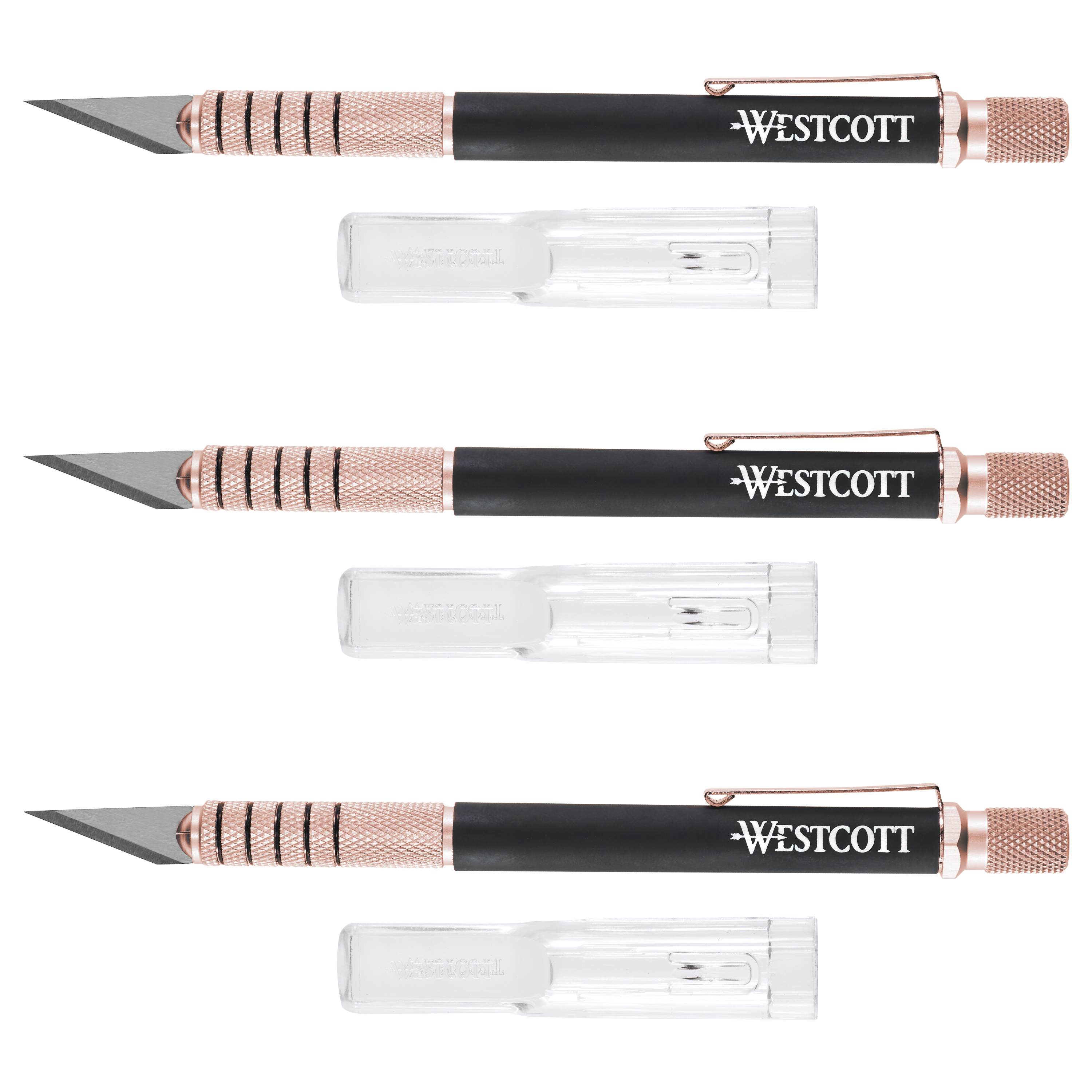 Westcott Carbotitanium Hobby Knife with Comfort Grip Handle, 3 Pack Rose Gold by ACME UNITED CORPORATION