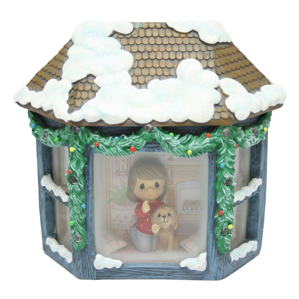 Precious Moments Girl And Puppy Watching Snowfall Resin Music Box Lighted 141102