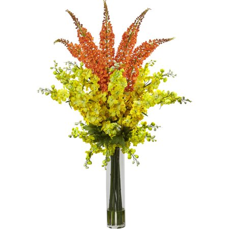 Nearly Natural Delphinium and Foxtail Silk Floral Arrangement
