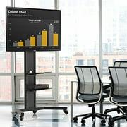 FITUEYES Universal Floor Tv Stand Base with Tempered glass Av Shelf Locking Caster Wheels for 32 to 65 inch Samsung Vizio LG Flat Screen TVs TT211201MB