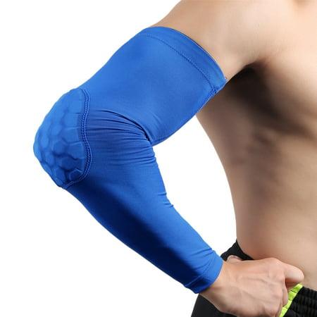 Blue M Size Basketball Honeycomb Compression Long Elbow Pad Arm Sleeve Guard - image 1 de 1