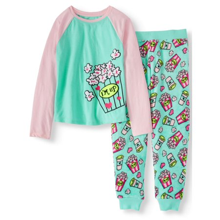 Girls' 2 Piece Cozy Graphic Top And Printed Jogger Pant Sleepwear Set - Cute Dresses For Girls 10-12
