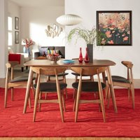 Chelsea Lane Mid Century Modern 7 Piece Dining Set with Faux Leather Chairs