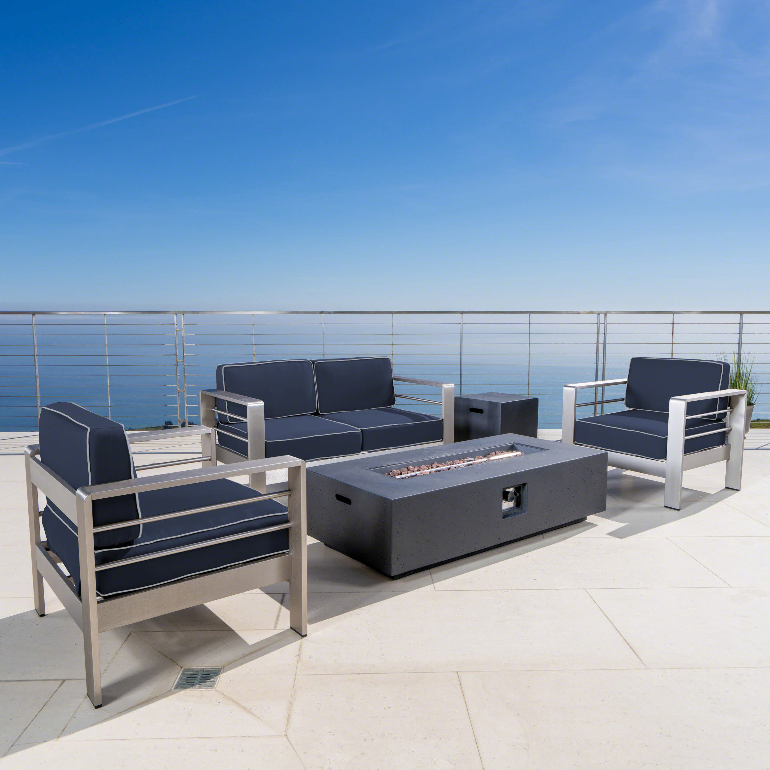 Cybele Doris Outdoor 5 Piece Aluminum Chat Set with Sunbrella Cushions and Dark Grey Fire Pit, Canvas Navy