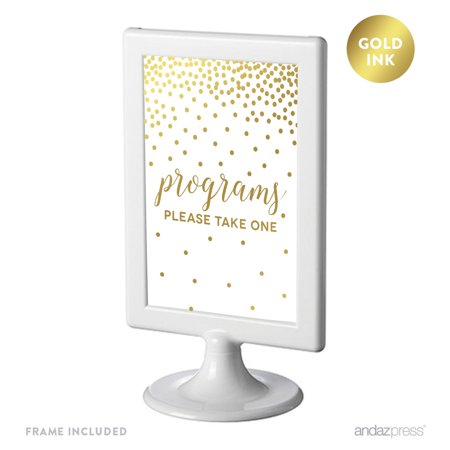 Metallic Gold Confetti Polka Dots 4x6-inch Party Signs, Programs, Please Take One, Includes Frame Take 1 Picture