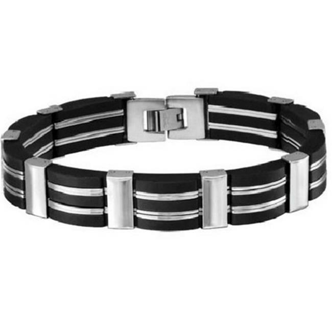 Oxford Ivy Mens Stainless Steel & Rubber Link Bracelet 8.125 in.