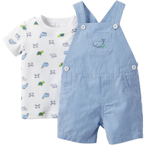 Child of Mine made by Carter's Newborn Baby Boy Shirt and Overall Outfit Set 2 Pieces