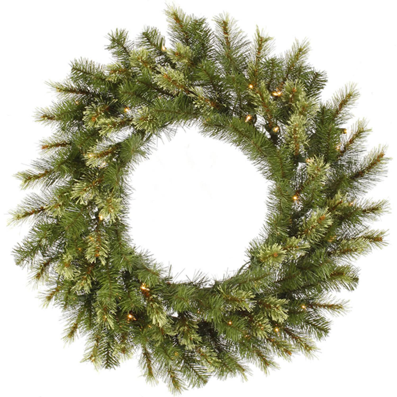 "36"" Pre-Lit Jack Pine Artificial Christmas Wreath - Warm Clear LED Lights"