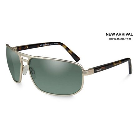 Light Gold Lens (Wiley X ACHAY04 WX Hayden Sunglasses w/Satin Gold Frame & Polarized Green)