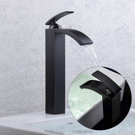 12'' Oil Rubbed Bronze Waterfall Bathroom Sink Faucet Vessel One Hole/Handle Tap - Walmart.com