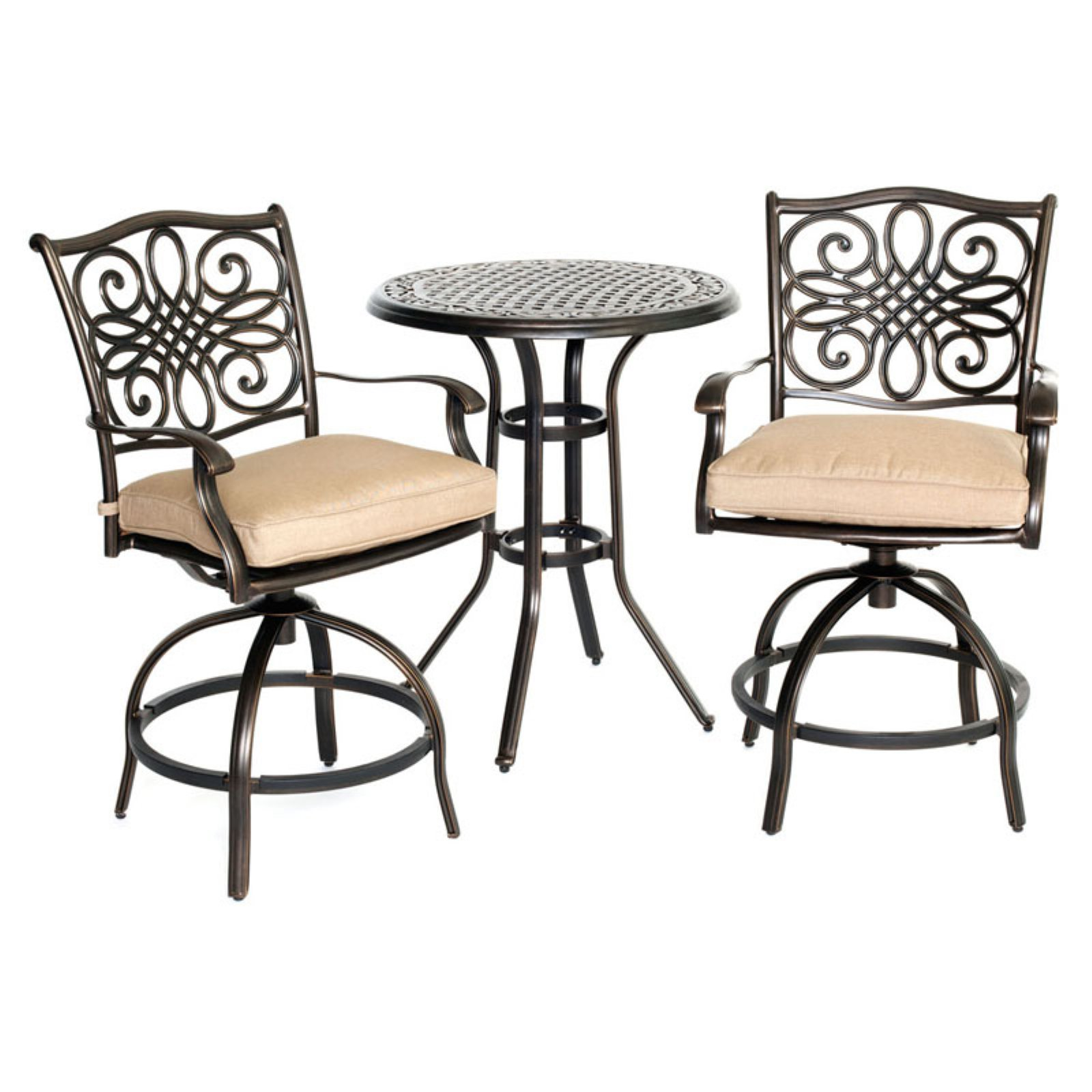 Bon Hanover Outdoor Traditions 3 Piece High Dining Bistro Set, Natural  Oat/Bronze